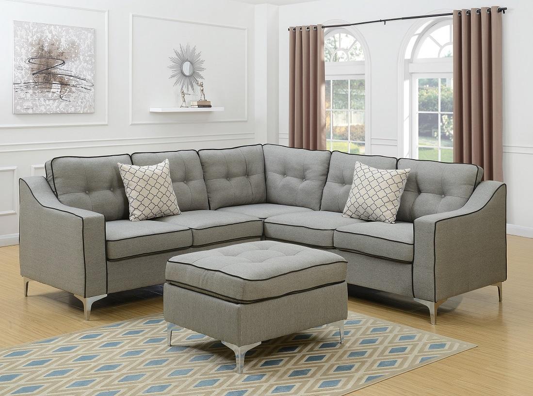 Modern Modular 4pcs L-shaped Sectional Sofa Casual Light Grey Tufted ...
