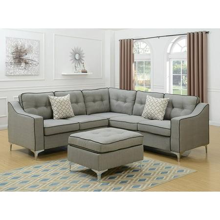 Modern Modular 4pcs L-shaped Sectional Sofa Casual Light Grey Tufted  Polyfiber LAF & RAF One Arm Love-seat Corner Wedge Ottoman Living Room