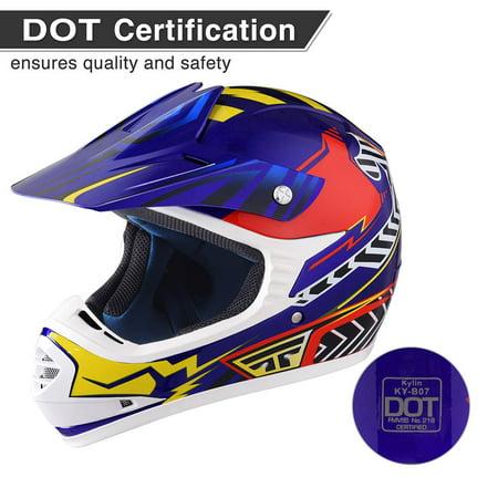 Yescom DOT Youth Motocross Helmet Full Face Off Road ATV Dirt Bike Motorcycle Racing Outdoor Sports S/M/L/XL Road Atv Helmet