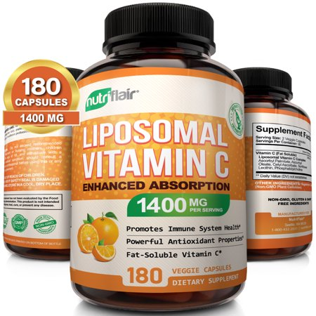 NutriFlair Liposomal Vitamin C 1400mg - 180 Capsules - High Absorption, Fat Soluble VIT C, Antioxidant Supplement, Higher Bioavailability Immune System Support & Collagen Booster, Non-GMO, Vegan Pills Immune Support Wellness Oil