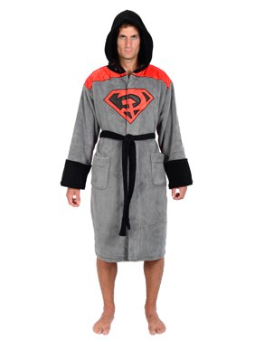 Comics Superman Red Son Mens Fleece Bathrobe & Swim Suit Cover Up with Cape