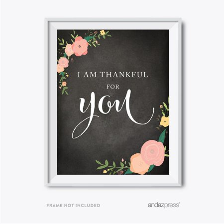 I Am Thankful For You Chalkboard Floral Fall Thanksgiving Party - Sam I Am Sign