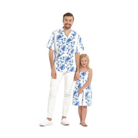 Hawaiian Dresses Shirts (Made in Hawaii Matching Father Daughter Luau Shirt Elastic Strap Dress in Blue Floral in White)