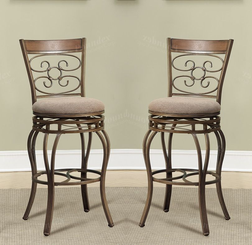 29 inch Seat H Counter Bar Chairs Kitchen Patio Metal with Back Swivel Stools - Set of 2