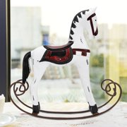 Tebru Handmade Wooden Rocking Horse Carved Painted Kids Toy Gift Table Decoration, Painted Rocking Horse, Handmade Wooden Rocking Horse