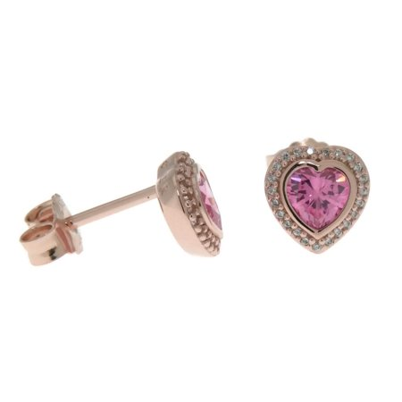 Authentic Rose Earring Studs Sparkling Love with Pink & Clear Cubic Zirconia