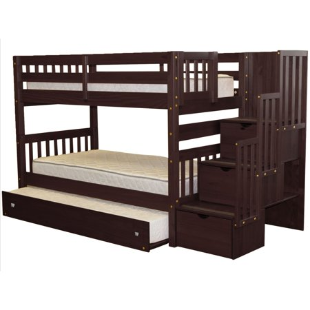 Bedz King Stairway Bunk Bed Twin Over And Trundle In Cuccino
