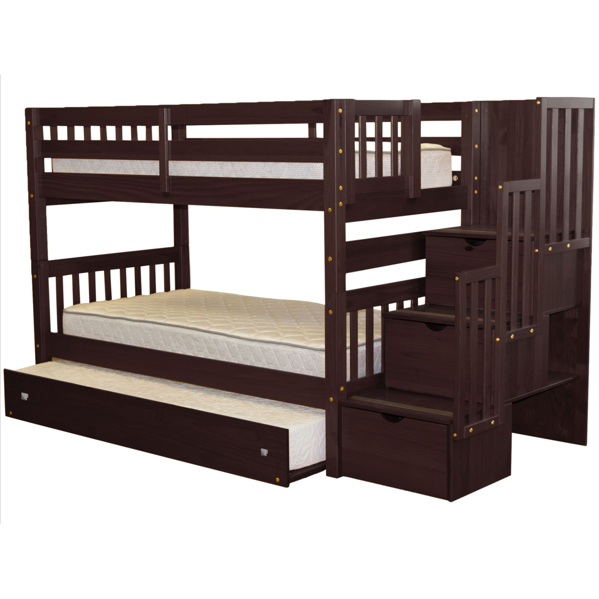 Awesome Bedz King Stairway Bunk Bed Twin Over Twin And Twin Trundle In Cappuccino