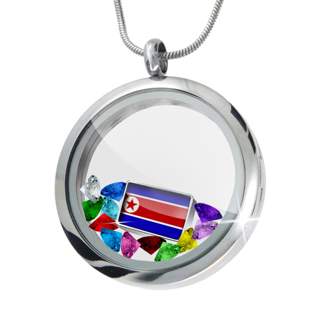 Floating Locket Set North Korea Flag NEONBLOND by NEONBLOND