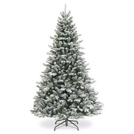 7' Flocked Artificial Christmas Tree Unlit - 6ft Fake Christmas Pine Tree with Fake Snow 871 Tips Green and White 6 Foot Christmas Tree with Plastic Base for Holidays 6' x 51