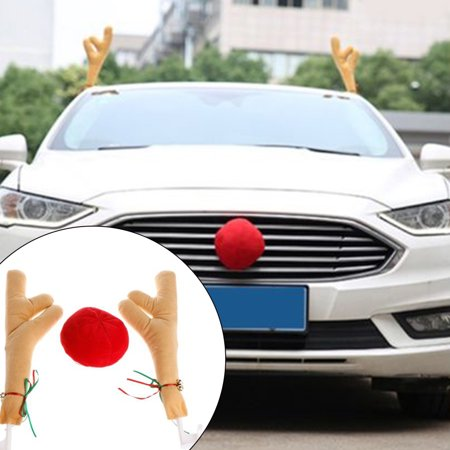 Directer Funny Reindeer Antlers with Bell Red Nose Ball Car Truck Christmas Decoration - Raindeer Car Kit