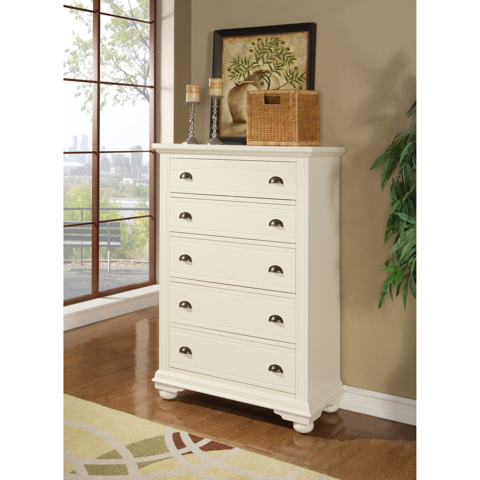 Picket House Furnishings Brook 5 Drawer Chest - Cottage White