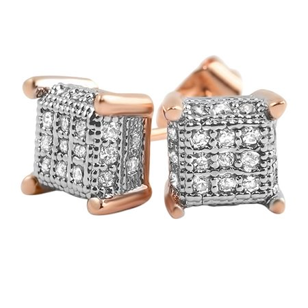Pave Cube (Small 3D Cube Rose Gold CZ Micro Pave Bling Earrings )