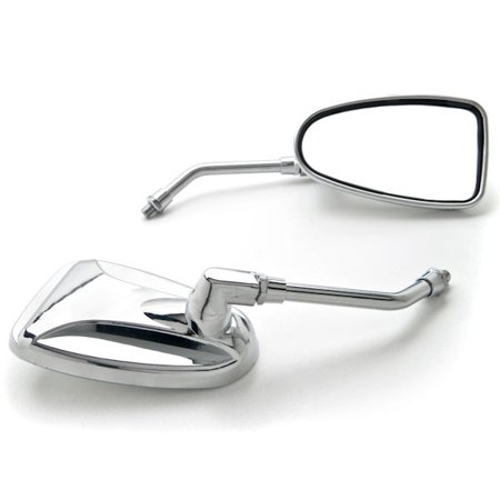 Krator Universal Motorcycle Cruiser Scooter Moped ATV Mirrors Chrome + Bolt Adapters Fits Most Harley Suzuki Honda Kawasaki Cruisers Touring Sportbike Scooters Rear View - Free Adapters ()