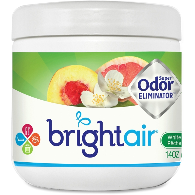 Bright Air Super Odor Eliminator Air Freshener - 14 Fl Oz [0.4 Quart] - White Peach, Citrus - 60 Day - 6 / Carton (900133ct)