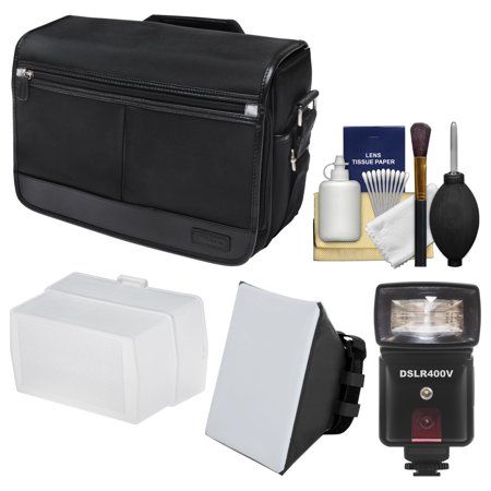 Nikon DSLR Camera/Tablet Messenger Shoulder Bag + LED Video Light & Flash + SoftBox + Diffuser Kit for D810, D750, D610, D7200, D7100, D5500, D5300, D3300, D3200