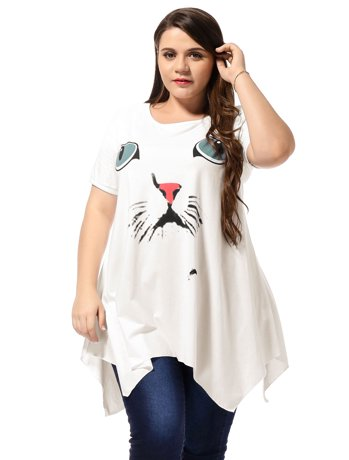 Unique Bargains Women S Plus Size Cat Head Embellished