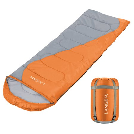 LANGRIA Sleeping Bag - Bonus Camping Light - for Camping, Hiking Backpacking and Cold Weather, Portable and Lightweight -Sleeping Bag for Adults and