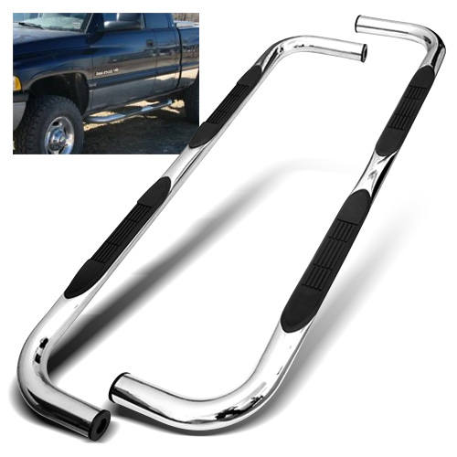 "ModifyStreet® 3"" Inches Stainless Steel Side Step Bar Nerf Bar Running Board for Quad/Club Cab 94-01 Dodge Ram 1500/94-02 Dodge Ram 2500/3500 - Chrome"