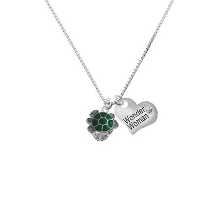 Silvertone Green Enamel 2-D Turtle Spinner Wonder Woman Heart Necklace - Green Enamel Heart