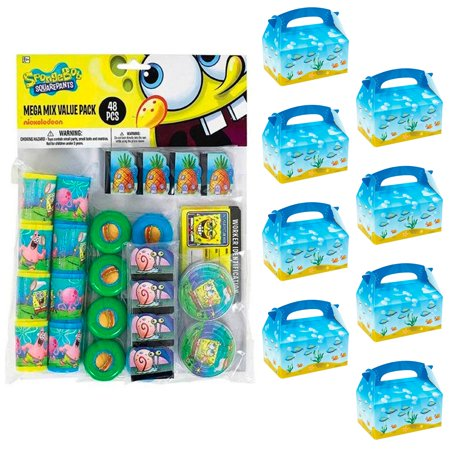 SpongeBob Filled Favor Box Kit (For 8 Guests) - Bomb Party