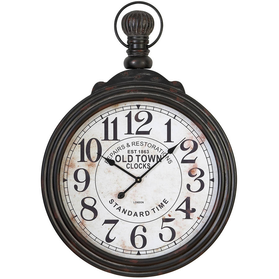 "Decmode 39"" x 28"" Wooden Pocket Watch Wall Clock, Black and White"