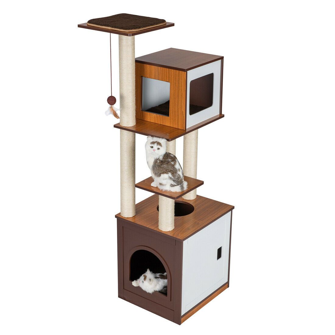 Gldf 60 Modern Deluxe Wood Cat Tree Furniture Washroom Condo Play Tower Walmart Com Walmart Com