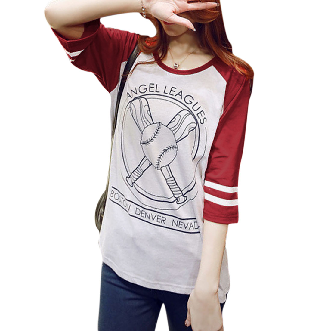 Allegra K Women's 3/4 Raglan Sleeves Letters Baseball Prints Tops Red Light Gray (Size M / 8)