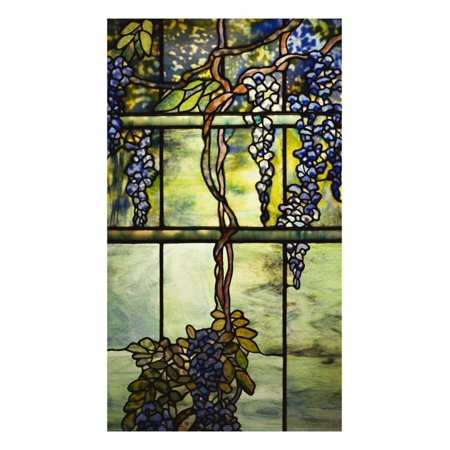Detail from a Fine Leaded Glass Triptych Window (Wisteria) Print Wall