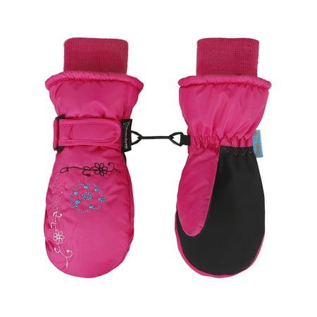 Girl's 3M Thinsulate Waterproof Ski Mittens Gloves,M,Rose