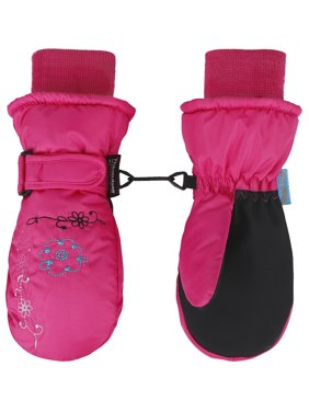 Toppers Kids Thinsulate Lined Waterproof Floral Embroidered Ski Mitten Gloves M