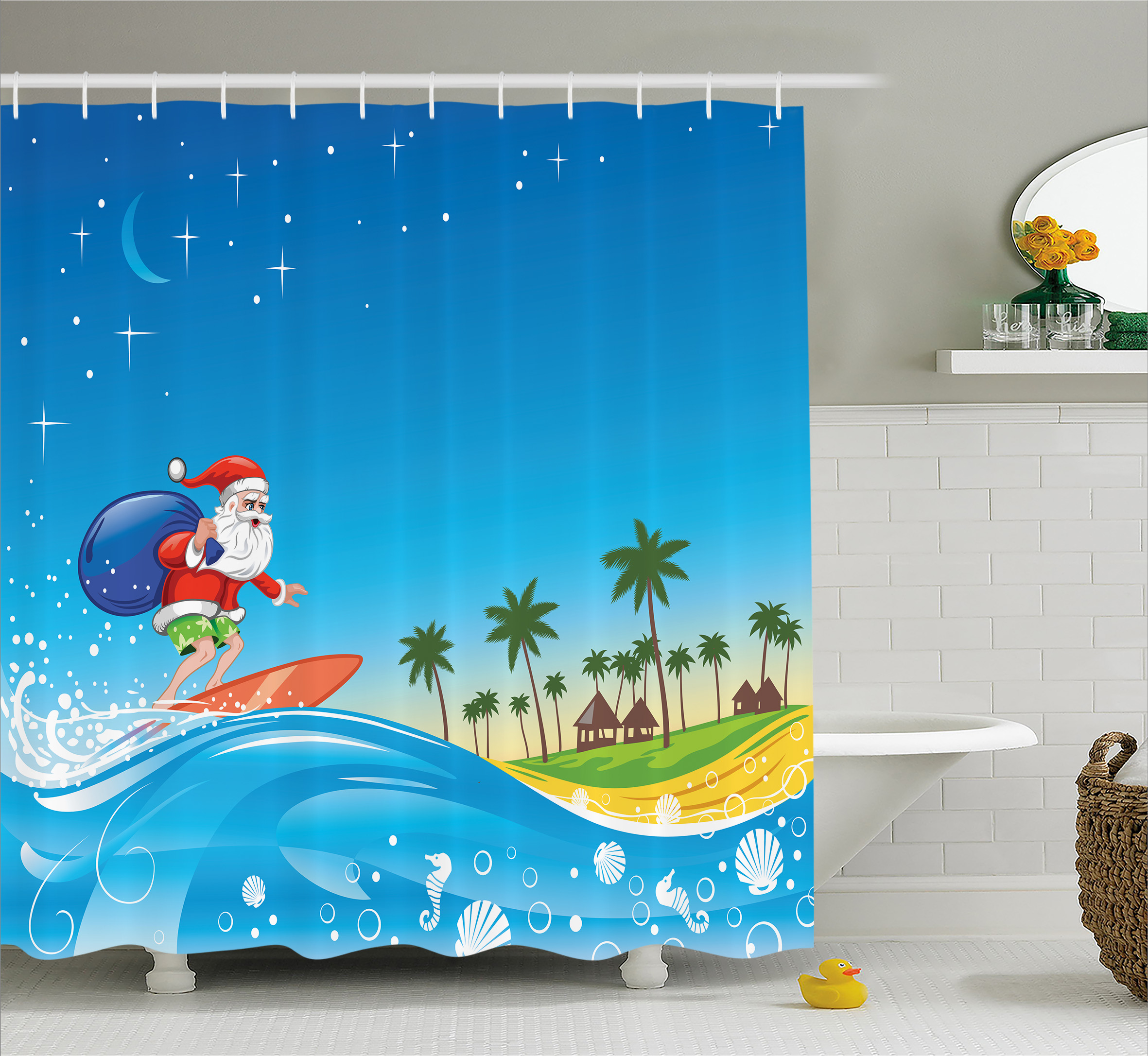 Christmas Shower Curtain Set, Surfing Santa on a Wave with Sack at the Beach Tropical Night Theme Fantasy Cartoon , Bathroom Decor, Multi, by Ambesonne