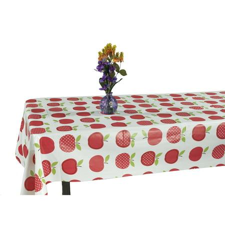 Ottomanson Vinyl Cute Apple Design Indoor & Outdoor Tablecloth with Non-Woven (Apple Tablecloth)