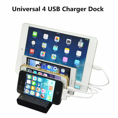 Universal 4 Port USB Hub Charging Dock Station Stand Organizer for for iPhone & Samsung Smart Cell Phone PC