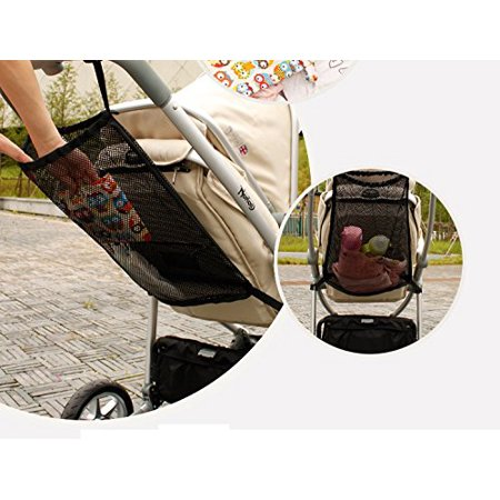 Stroller Mesh (MINI-FACTORY Baby Stroller Organizer, Mesh Storage Bag, Crates Extra Large Space for Diapers / Toys / Books / Wallet and more - Fits Most Strollers - Black)