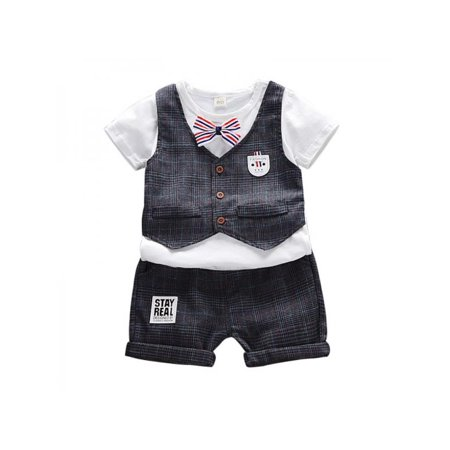 Topumt Summer Fashion Lovely Baby Boy Plaid Vest T-Shirt Shorts Set