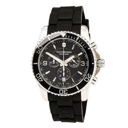 Swiss Army 241696 Men's Maverick Chronograph Black Dial Black Rubber Strap Watch