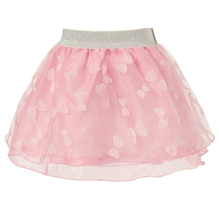 Richie House Girls' Tulle Skirt with Bow Print and Accent (Bow Back Skirt)