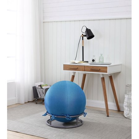 Posture Ball Chair - GoodGram Premium Posture Denim Covered Exercise Yoga Ball Chair Set - Denim Blue