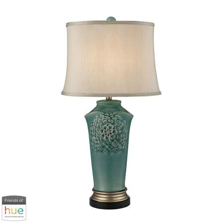 Organic Flowers Table Lamp in Seafoam Finish - with Philips Hue LED Bulb/Bridge - Organic Gold Finish
