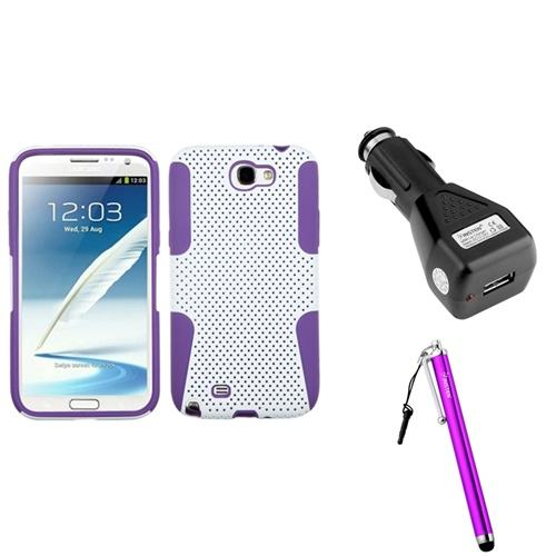 Insten Purple/White Hybrid Case+Car Charger+Stylus For Samsung Galaxy Note 2 II