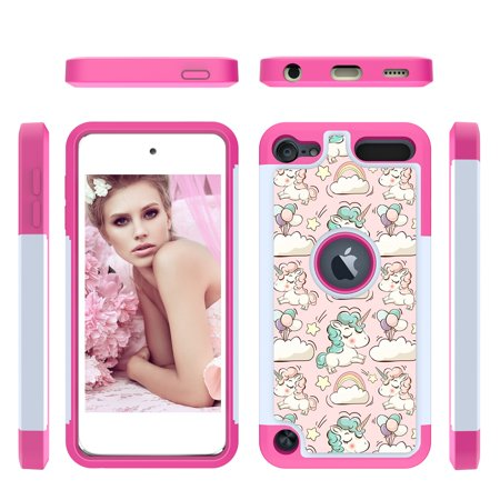 Allytech iPod Touch 7 (2019) Case, iPod Touch 6 Case, iPod Touch 5 Case, 2 In 1 Shockproof Protective Anti-Scratch Drop Proof Case Cover for Apple iPod Touch 7th / 6th / 5th Generation,Unicorn ()