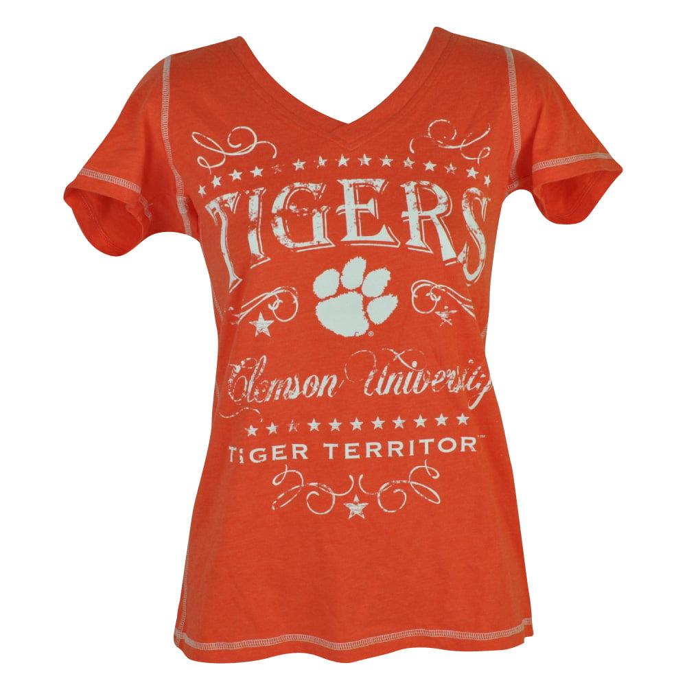 NCAA Clemson Tigers Fullback Womens Ladies Tshirt Tee V Neck Short Sleeve XLarge by Creative Apparel