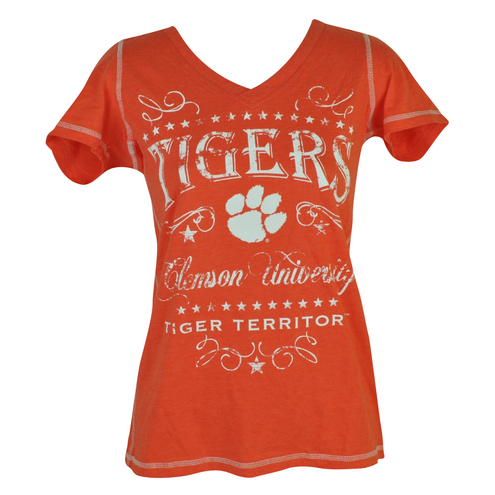 NCAA Clemson Tigers Fullback Womens Ladies Tshirt Tee V Neck Short Sleeve XLarge