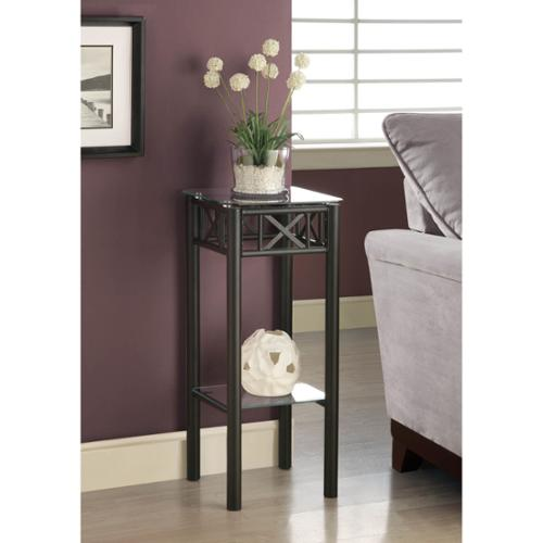 MONARCH SPECIALTIES Tempered Glass Top Black Plant Stand