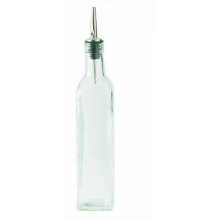 16 Oz. (Ounce) Oil Vinegar Cruet, Square Tall Glass Bottle w/Stainless Steel Pourer Spout