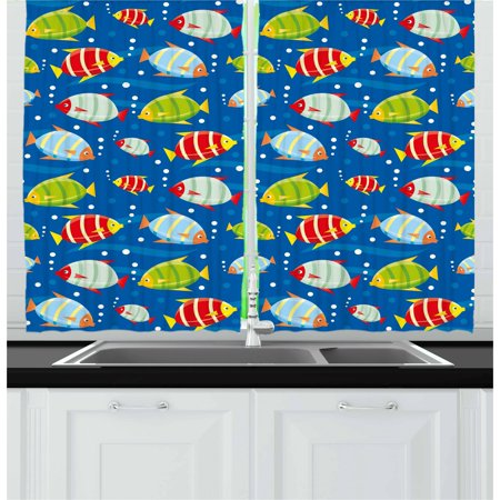 - Nursery Curtains 2 Panels Set, Vibrant Colored Fish on a Navy Blue Background Marine Life Digital Art, Window Drapes for Living Room Bedroom, 55W X 39L Inches, Navy Blue Multicolor, by Ambesonne