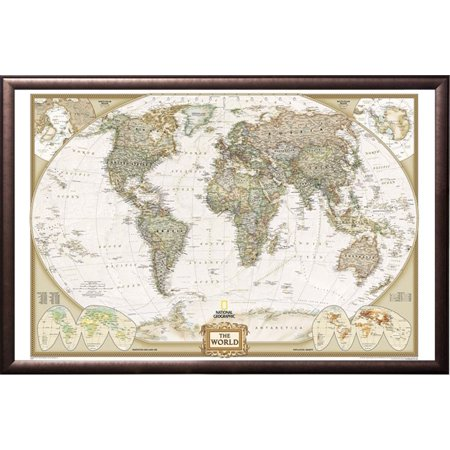 World Map By National Geographic Push Pin Map Framed Copper Rust
