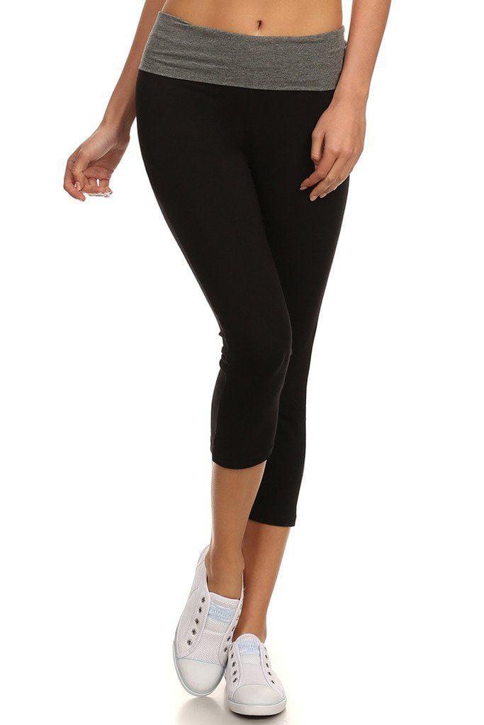 Juniors Fold Over Banded Waist Capri Length Workout Yoga Pants