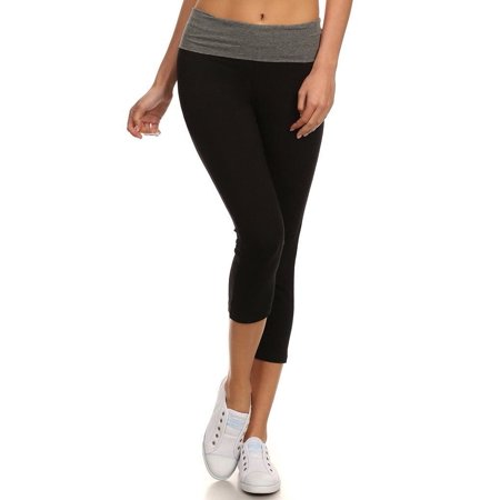 Juniors Fold Over Banded Waist Capri Length Workout Yoga Pants
